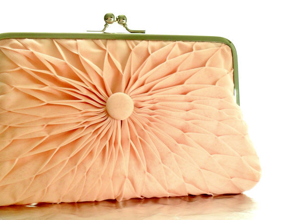 Pink Peach Chiffon Button Clutch  Size Large  by HeidiCreations
