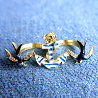 The Anchors Away Double Ring | Trinkettes