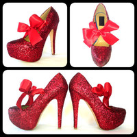 Scarlet Glitter High Heels by ChelsieDeyDesigns on Etsy