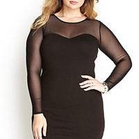 Mesh-Trimmed Bodycon Dress