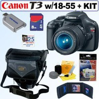 Canon EOS Rebel T3 12.2 MP CMOS Digital SLR Camera with EF-S 18-55mm f/3.5-5.6 IS II Zoom Lens + 8GB Accessory Kit
