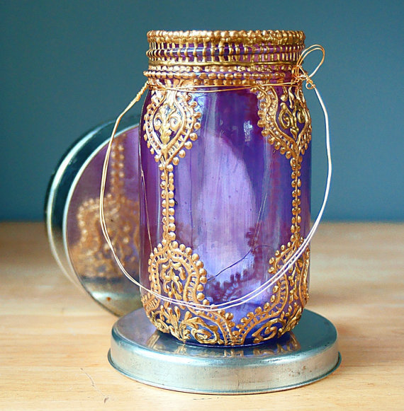 Hand Painted Mason Jar Lantern Violet Glass with Gold by LITdecor