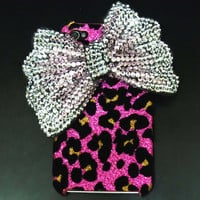 Bling Crystal Velvet Leopard Pink Ribbon Silver Bow by jason118