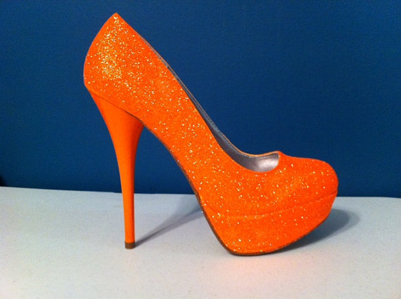 NEON Orange Glitter Heels HOT Summer Color by ashleybrooks1984
