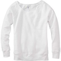 Bella Ladies 8.2 oz. Triblend Slouchy Wide Neck Fleece - SOLID WHITE TRBLND - S