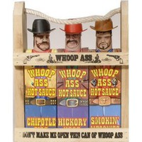 Wooden Crate `Whoop Ass` Hot Sauce Gift Set
