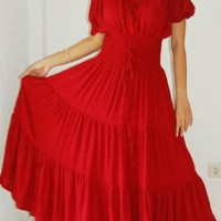 RED DRESS PEASANT MAXI DRESS LONG LAGENLOOK FITS - M L 1X 2X - A755 LOTUSTRADERS