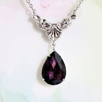 Amethyst Necklace  Purple Crystal Rhinestone Necklace February Birthstone Art Deco Jewelry  Estate Style Wedding Something Old Prom
