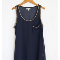 Navy Blue and Gold Chain Top