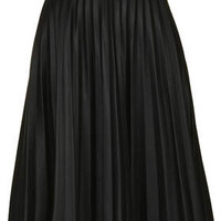 PETITE PU PLEATED MIDI SKIRT