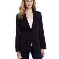 AK Anne Klein Women&#x27;s Washed Satin Button Front Blazer