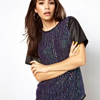 ASOS T-Shirt with All Over Sequin and PU Sleeves