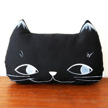 Hand painted Black Cat Face Pillow