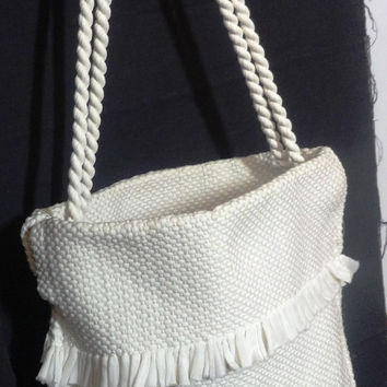 Vintage 1960s Woven Nylon Purse in White with Rope Handles