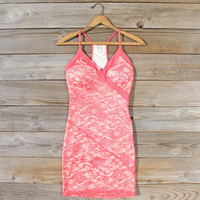 Beloved Lace Dress in Coral