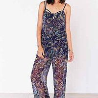 Ecote Silky Open-Back Double Layer Jumpsuit - Urban Outfitters