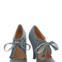 ModCloth Vintage Inspired Tea on the Train Heel in Storm