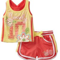 Young Hearts Baby-Girls Infant French Terry Short Set