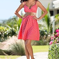 Coral & White (COWH) Polka Dot Belted Dress