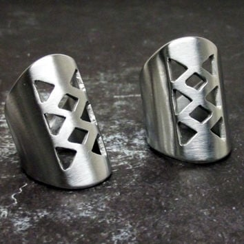 Originally designed handcrafted silver aluminum artistic geometric cutout extra wide ring Sizes 6-12