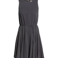 H&M - Circle-skirt Dress - Dark gray - Ladies