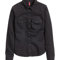 H&M - Denim Shirt - Black - Ladies