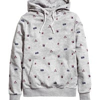H&M - Patterned Hooded Sweatshirt - Gray/Patterned - Men