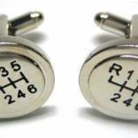 6 Speed Sport CAR Manual Stick Shifter Cufflinks w/ Gift Box