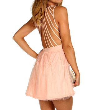Pink Stappy Back Tulle Dress