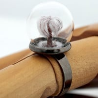 Mini snowy winter tree glass dome globe terrarium diorama ring jewelry- Winter jewellery- adjustable dome ring
