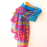 NEW Yoga Scarf Ethnic Scarf Aztec Scarf Tribal Scarf Soft Cotton Scarf Deep Sky Blue Outstand Scarf Hot Pink Beach Pareo Sarong Urban Scarf