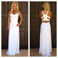 Loruh Crochet Back Maxi Dress By SKY - V770RX - WHITE