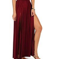 Burgundy Double Front Slit Maxi Skirt