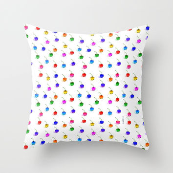 3D Glass Rainbow Cherries Pattern - Throw Pillow by THE-LEMON-WATCH