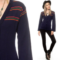 Striped Cardigan Sweater 80s Navy Blue Stripe Knit Bell Sleeve 1980s Button Up Vintage Nerd Geek Tiny Fit Retro Preppy Extra Small XS