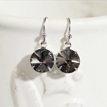 Black Diamond Earrings Black Diamond Crystal Rhinestone Earrings Sterling French Hooks April Birthday Gift Idea Weddings Prom