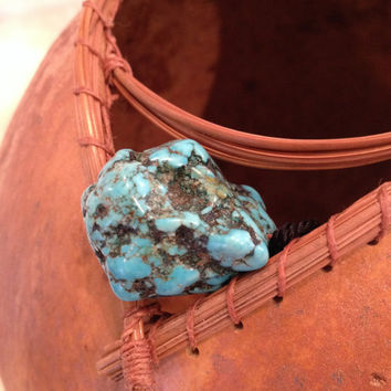 Golden Pine Needle and Turquoise Art Gourd
