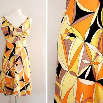 Vintage 1960's Bergdorf Goodman Pucci Style Silk Dress - Geometric Graphic Print A Line Dress - Empire Line Dress - Size Small