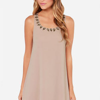 LULUS Exclusive Bead Me Up Beaded Taupe Dress