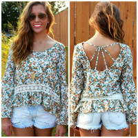 Millbrook Green Floral Ruffle Top