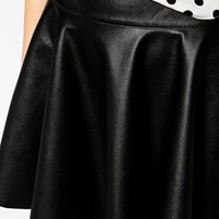 ASOS Circle Skirt In Leather Look