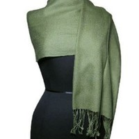 100% Pashmina Olive Green Shawl Wrap. Woman's Scarf.