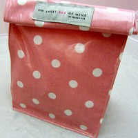 Oilcloth Lunch Bag - Spots - White On Pink | Luulla