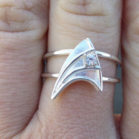 Sterling Silver Engagement Ring with White Sapphire Star Trek Insignia by VaLaJewellery