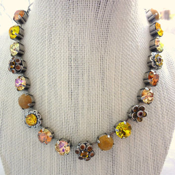 "Swarovski crystal necklace, yellow ""Sunshine"" 11mm super sparkler, Siggy unique OOAK, statement necklace"