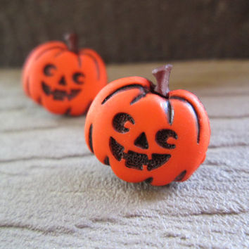 Halloween Pumpkin Earrings, Jack o Lantern Studs, Autumn Jewelry, Fall Fashion, Orange, Hypoallergenic Option