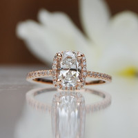 1ct White Diamond F/SI1 cushon diamond 18k rose gold ring engagement ring TDW 1.2ct