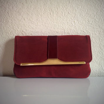 Vintage 70's Burgundy Clutch Faux Suede with Patent Trim