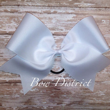 "3"" Solid White Plain Cheer Bow"
