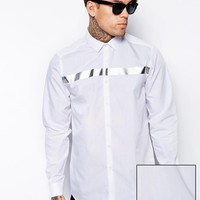 ASOS | ASOS Smart Shirt In Long Sleeve With Metalic Strip at ASOS